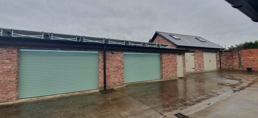 Two insulated roller shutter garage doors