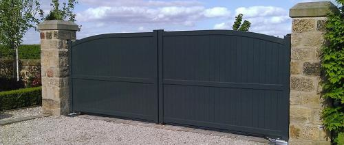 Aluminium gate in Anthracite with curved top with underground automation installed in Cheshire
