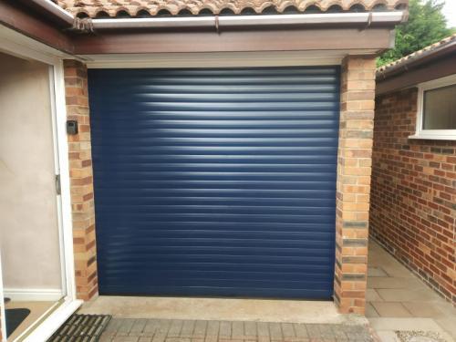 Insulated Roller Garage Door in Blue
