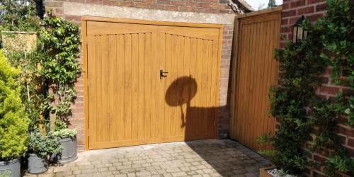 Side hinged garage door in golden oak