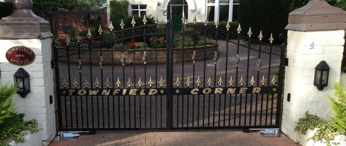 Wrought iron gates with automation installed in Cheshire