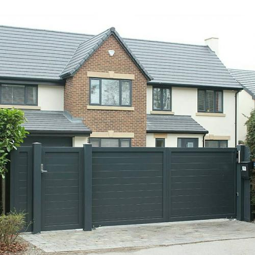Aluminium gate with matching pedestrian gate and infill installed in Cheshire